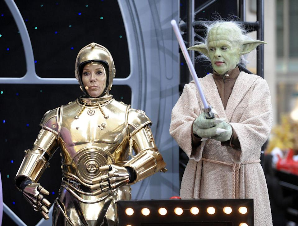 <p>In a plaza not far away, we find our favorite hosts dressed up in the most committed <em>Star Wars</em> Halloween costumes we've <em>ever</em> seen. That's because the props they wore were actually from Lucas Films! Kathie Lee Gifford strapped on some metal to portray R2-D2, while Hoda Kotb blew us away with those green prosthetics on her face and hands, completely transforming her into the tallest Yoda yet. </p>