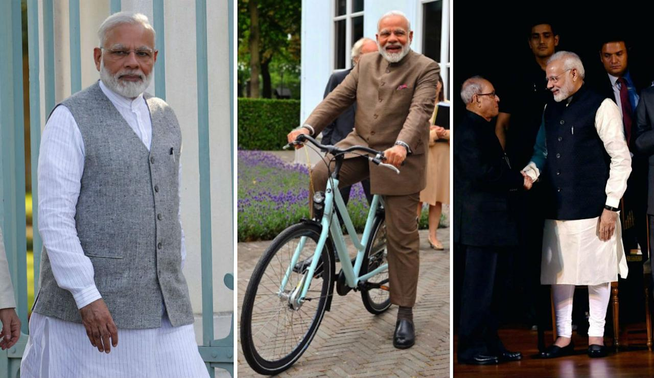 <p>One of the most stylish PMs of India, Modi's style is traditional, simple, crisp, classic and minimal. Usually sticking to a kurta-pyjama-vest combination, he spices it up a bit with Nehru-collared safari suits on his international trips. </p>
