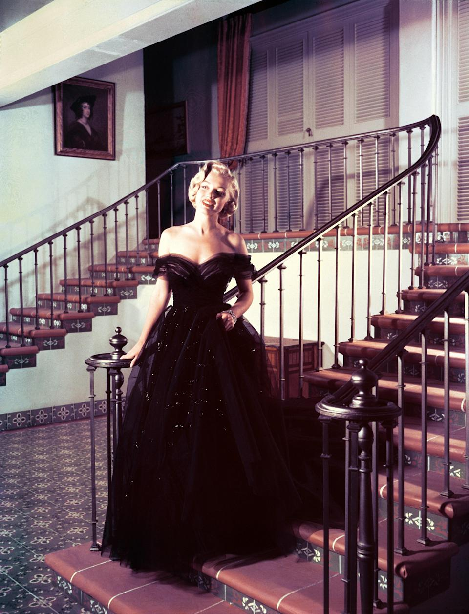 Marilyn Monroe attended the Oscars only once, in 1951. She's seen here wearing the tulle gown she went on to borrow from the 20th Century Fox wardrobe department to wear on the night.