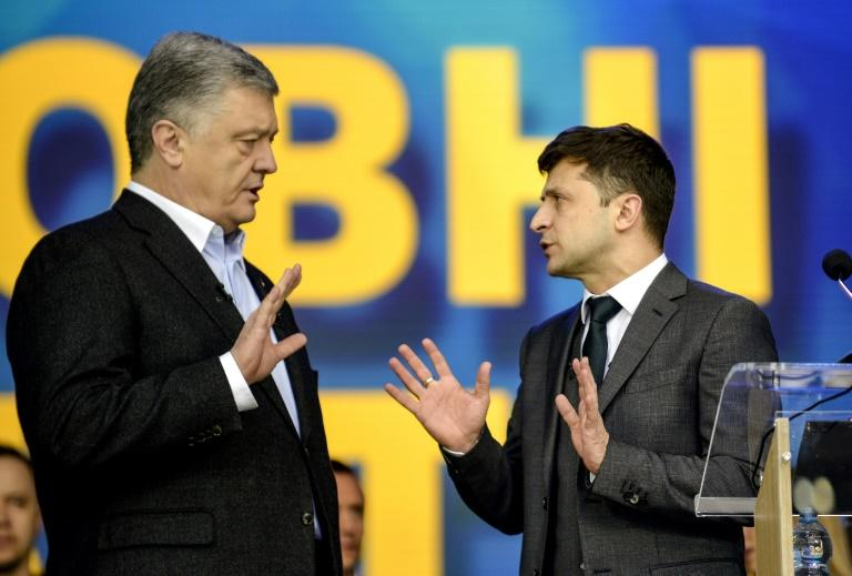 Petro Poroshenko and Volodymyr Zelensky debated each other at Olimpiyski stadium in Kiev ahead of the presidential election