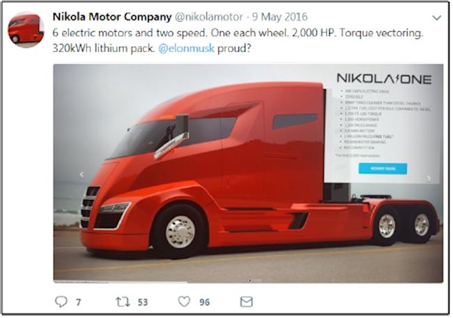 Startup Sues Tesla for $2 Billion Over Electric Truck Design