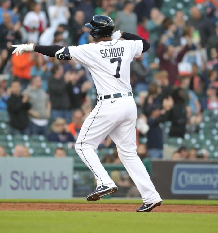 Detroit Tigers second baseman Jonathan Schoop (7) celebrates his three-run homer during fourth inning action on Tuesday, June 22, 2021, at Comerica Park in Detroit.