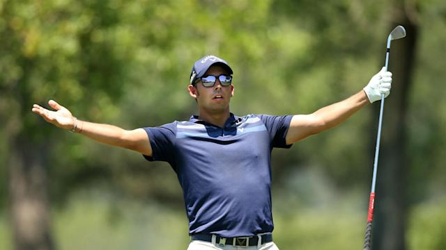 After a run of four successive birdies on the back nine, including a 100-foot putt, Pablo Larrazabal took a healthy lead after day two.