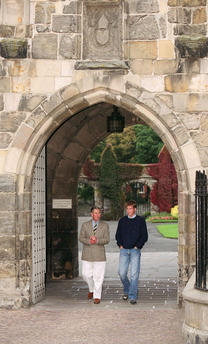"<p>Prince Charles and Prince William walk around campus on <a href=""https://www.townandcountrymag.com/society/a10274881/st-andrews-scotland/"" rel=""nofollow noopener"" target=""_blank"" data-ylk=""slk:William's first day at St. Andrews University."" class=""link rapid-noclick-resp"">William's first day at St. Andrews University. </a></p>"