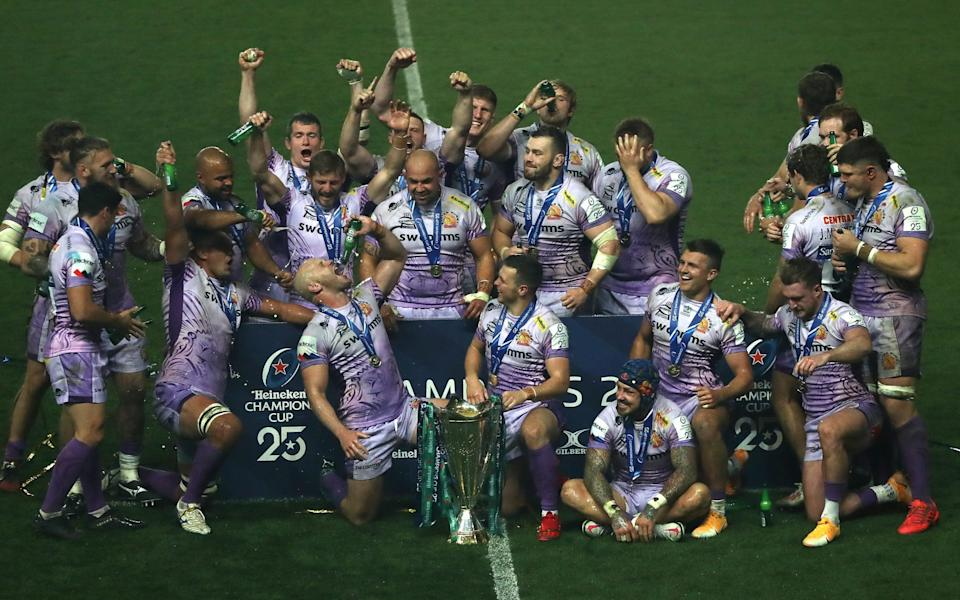 Exeter Chiefs celebrate after their victory during the Heineken Champions Cup Final - Getty Images