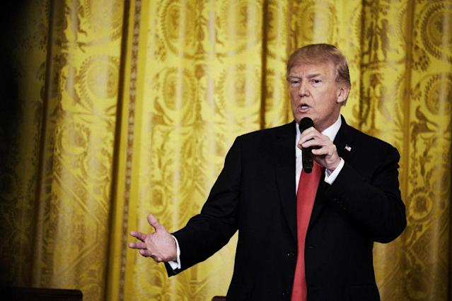 President Trump speaks during the Opioid Summit in the East Room of the White House, March 1, 2018. (Photo: T.J. Kirkpatrick/Bloomberg via Getty Images)