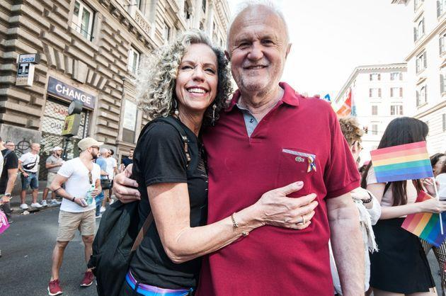 Monica Cirinnà with  Esterino Montino attend a gay pride parade as part of ''Roma Pride 2018''  on June 9, 2018 in Rome, Italy. (Photo by Andrea Ronchini/NurPhoto via Getty Images) (Photo: NurPhoto via NurPhoto via Getty Images)