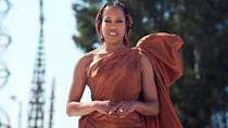 <p>Regina King looked gorgeous in a custom Oscar de la Renta gown at the Watts Towers in Los Angeles during the 2021 NAACP Image Awards.</p>