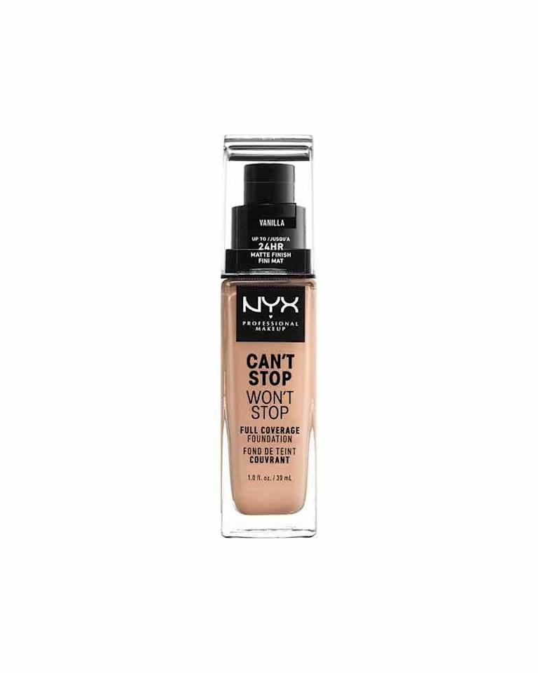 "<p><strong>NYX Professional Makeup</strong></p><p>amazon.com</p><p><strong>$10.49</strong></p><p><a href=""https://www.amazon.com/dp/B07JMR5BBS?tag=syn-yahoo-20&ascsubtag=%5Bartid%7C10072.g.31101896%5Bsrc%7Cyahoo-us"" target=""_blank"">SHOP NOW</a></p><p>Like the name suggests, this is a hardworking drugstore product with an astounding 24-hour wear, says <a href=""https://www.instagram.com/jordansawyerartistry/?hl=en"" target=""_blank"">Jordan Sawyer</a>, a professional makeup artist in NYC. It has a matte finish, perfect for people with oily skin, and combats humidity, sweat, and water. Plus, it comes in over 40 shades. </p>"