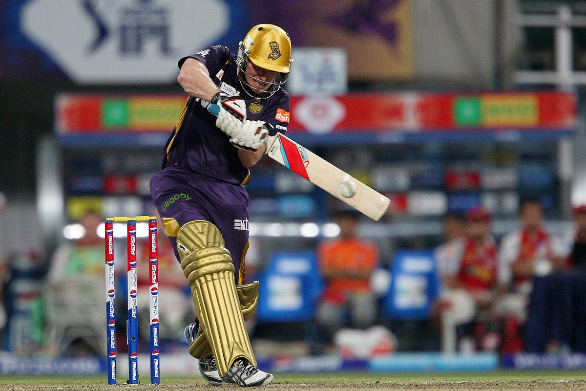 Eoin Morgan hits out during match 35 of the Pepsi Indian Premier League between The Kolkata Knight Riders and the Kings XI Punjab held at the Eden Gardens Stadium in Kolkata on the 26th April 2013. (BCCI)