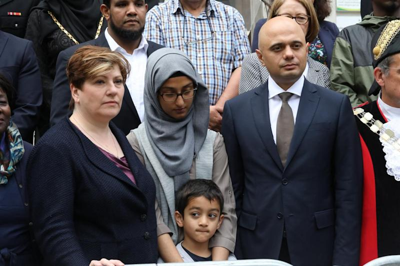 Emily Thornbury and Sajid Javid with members of the community (Alex Lentati)