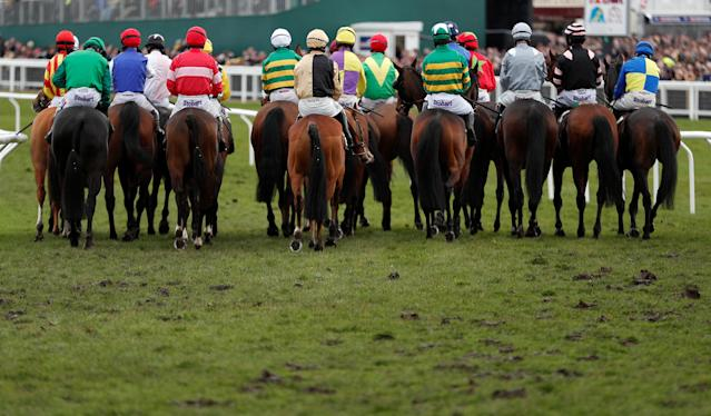 Horse Racing - Cheltenham Festival - Cheltenham Racecourse, Cheltenham, Britain - March 16, 2018 General view at the start of the 14.50 Albert Bartlett Novices' Hurdle Action Images via Reuters/Andrew Boyers