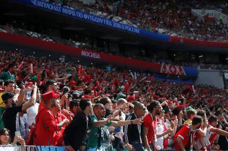 Soccer Football - World Cup - Group B - Portugal vs Morocco - Luzhniki Stadium, Moscow, Russia - June 20, 2018 Fans during the match REUTERS/Maxim Shemetov