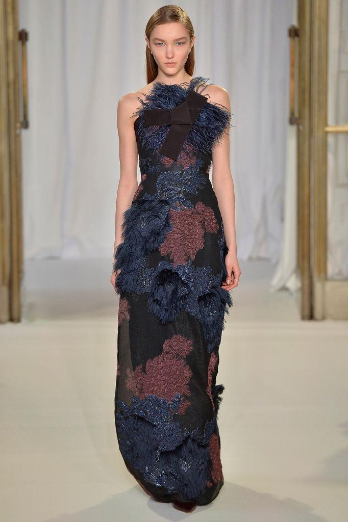 <p>A blue-and-red brocade gown at the Delpozo FW18 show. (Photo: Getty) </p>