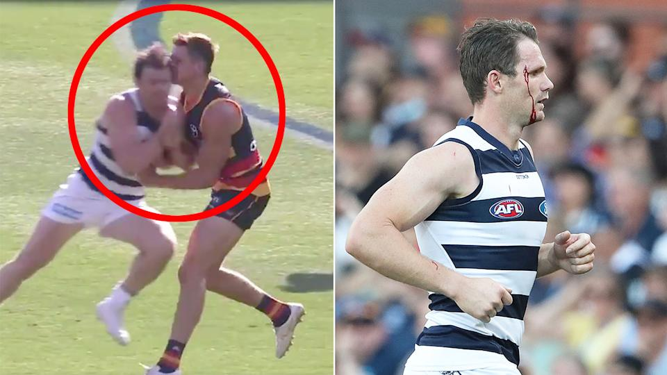 Pictured here, the Patrick Dangerfield bump that saw the Geelong veteran come under fire from fans.