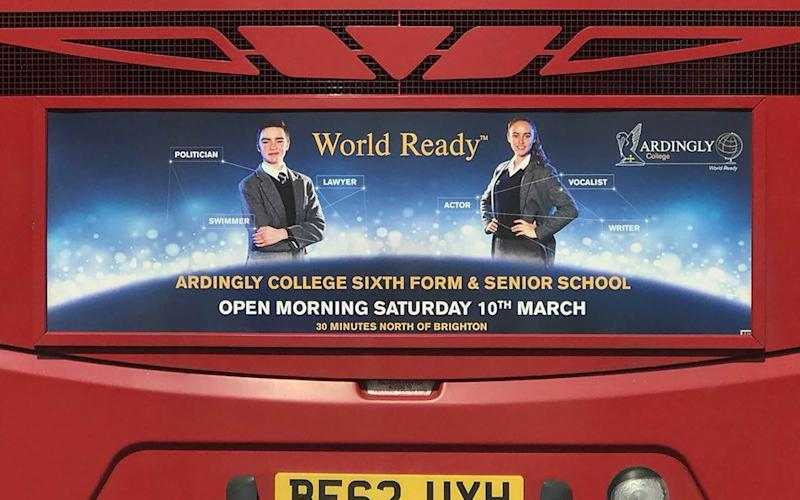 The Ardingly College advert which appeared on the back of a bus in Sussex