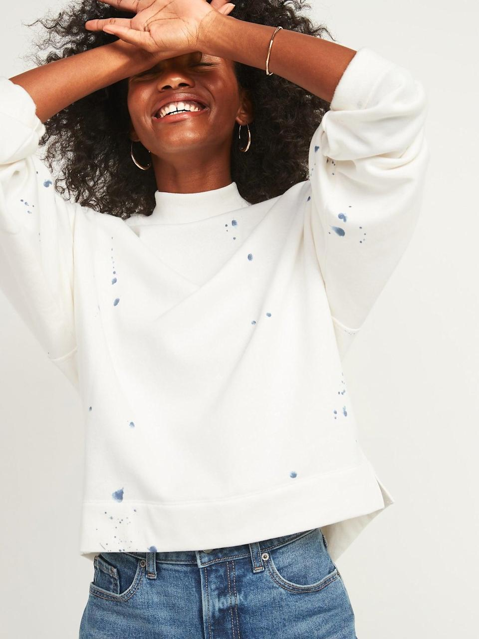 <p>We love this playful, comfortable <span>Old Navy Oversized Mock-Neck French Terry Sweatshirt</span> ($35).</p>