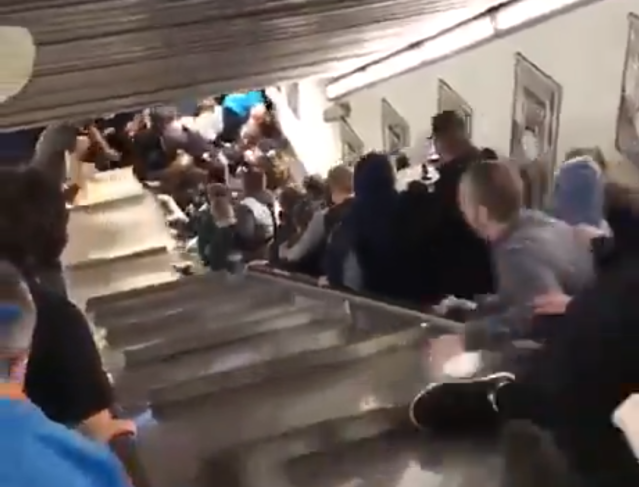 An escalator sped wildly out-of-control at a Rome metro station, injuring fans of CSKA Moscow. (Twitter/@RBWorldorg)
