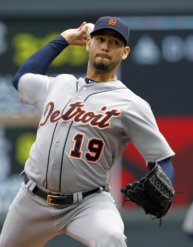 Detroit Tigers starting pitcher Anibal Sanchez (19) delivers to the Minnesota Twins during the third inning of a baseball game in Minneapolis, Saturday, April 26, 2014. (AP Photo/Ann Heisenfelt)