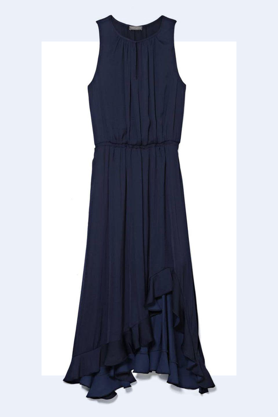"""<p><a rel=""""nofollow noopener"""" href=""""https://shop.nordstrom.com/s/vince-camuto-cinched-waist-rumple-satin-midi-dress/4999688?origin=keywordsearch-personalizedsort&breadcrumb=Home%2FAll%20Results&color=classic%20navy"""" target=""""_blank"""" data-ylk=""""slk:SHOP NOW"""" class=""""link rapid-noclick-resp"""">SHOP NOW</a> <em>Vince Camuto Midi Dress, $83.40</em></p><p>""""Stomach and arms are typically the two spots women are most worried about. If you're wearing a dress with <strong>draping or ruching</strong> it can help the stomach area."""" -<em><a rel=""""nofollow noopener"""" href=""""http://www.ashleypruitt.com/"""" target=""""_blank"""" data-ylk=""""slk:Ashley Pruitt"""" class=""""link rapid-noclick-resp"""">Ashley Pruitt</a></em></p>"""