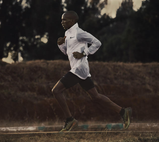 Eliud Kipchoge would sketch changes to the shoes on paper and email them to Nike for a new pair to be printed. (Nike)