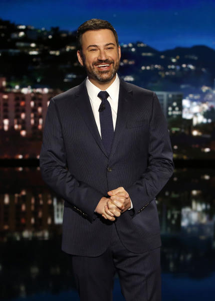 "FILE - In this April 11, 2017 photo released by ABC, host Kimmy Kimmel appears on ""Jimmy Kimmel Live"" in Los Angeles. Kimmel's monologue in May turned serious as this father of a newborn son emotionally told how his infant son had successfully had surgery for a life-threatening birth defect. (Randy Holmes/ABC via AP)"