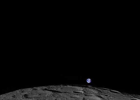 This image, captured Feb. 1, 2014, shows a colorized view of Earth from the moon-based perspective of NASA's Lunar Reconnaissance Orbiter.