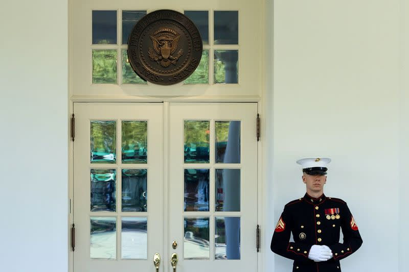 Trump enters Oval Office for first time since returning to White House
