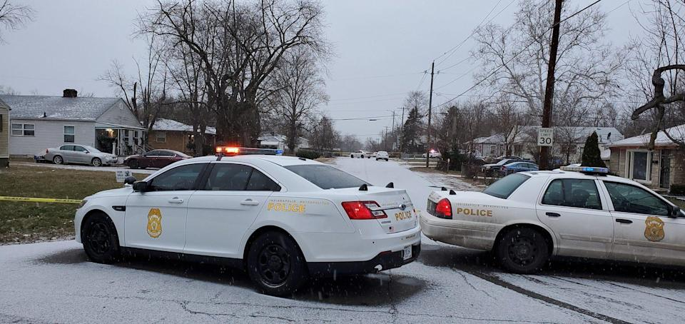 Indianapolis police investigate the scene of a shooting that left multiple people dead on Jan. 24, 2021.