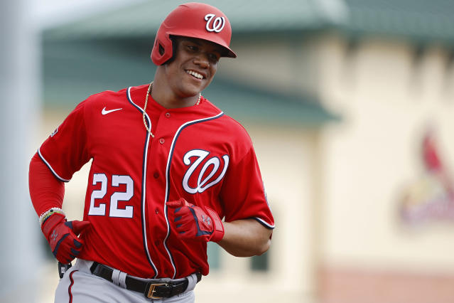Having starred in the World Series just after his 21st birthday, Nationals star Juan Soto will have all eyes tuned to his charismatic game in 2020. (Photo by Joe Robbins/Getty Images)
