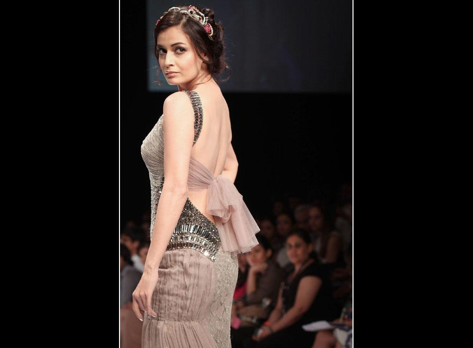 Dia Mirza was dressed up as a fairytale princess as she walked the ramp for Kushali Kumar's collection.
