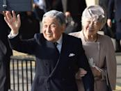 """<p>The former emperor and empress stepped back in 2019 for to Akihiko's ill health, abdicating to let their son, Naruhito, claim the throne. The decision made him the first Japanese emperor in <a href=""""https://www.wsj.com/articles/japan-emperor-expresses-doubts-about-age-health-1470637649"""" rel=""""nofollow noopener"""" target=""""_blank"""" data-ylk=""""slk:over 200 years"""" class=""""link rapid-noclick-resp"""">over 200 years</a> to abdicate. <br></p>"""