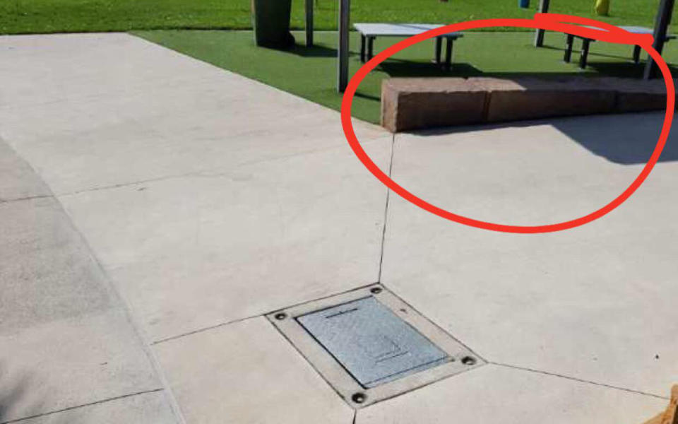 Ms Pickering said she was sitting on a ledge just metres away when her daughter stepped on the scorching metal grate (pictured). Image: Facebook/Simone Pickering