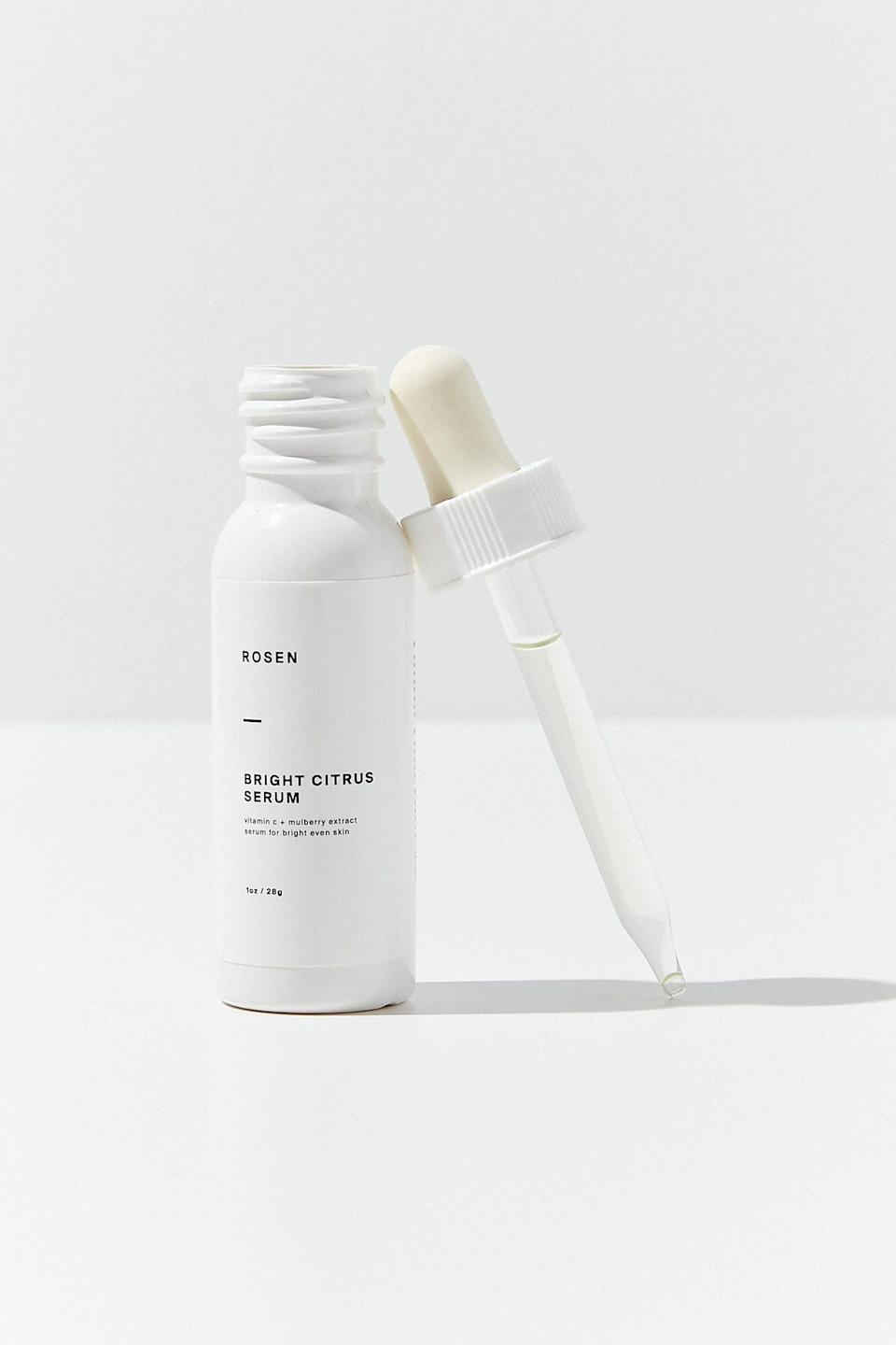 """<p><strong>ROSEN Skincare</strong></p><p>urbanoutfitters.com</p><p><strong>$18.00</strong></p><p><a href=""""https://go.redirectingat.com?id=74968X1596630&url=https%3A%2F%2Fwww.urbanoutfitters.com%2Fshop%2Frosen-skincare-bright-citrus-serum&sref=https%3A%2F%2Fwww.oprahmag.com%2Fbeauty%2Fg28640232%2Fbest-vitamin-c-serums%2F"""" rel=""""nofollow noopener"""" target=""""_blank"""" data-ylk=""""slk:SHOP NOW"""" class=""""link rapid-noclick-resp"""">SHOP NOW</a></p><p>Put your freshest face forward with this hardworking formula, which can be applied directly to clean skin or added to your moisturizer. Either way, the silky serum delivers a healthy dose of vitamin C—thanks to a blend of 20 percent L-ascorbic acid, grapefruit oil, and mulberry extract—to boost skin's radiance and reduce the appearance of discoloration.</p>"""