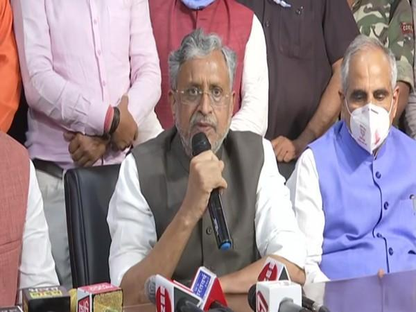 Sushil Modi addressing a press conference in Patna on Tuesday night.