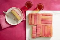 """<p>Pretty pink rhubarb makes a stunning treat that's easy to make by layering the fruit in the bottom of a cake pan and pouring the batter on top.</p><p><em><a href=""""https://www.womansday.com/food-recipes/food-drinks/a19810598/rhubarb-and-almond-upside-down-cake-recipe/"""" rel=""""nofollow noopener"""" target=""""_blank"""" data-ylk=""""slk:Get the recipe from Woman's Day »"""" class=""""link rapid-noclick-resp"""">Get the recipe from Woman's Day »</a></em></p>"""
