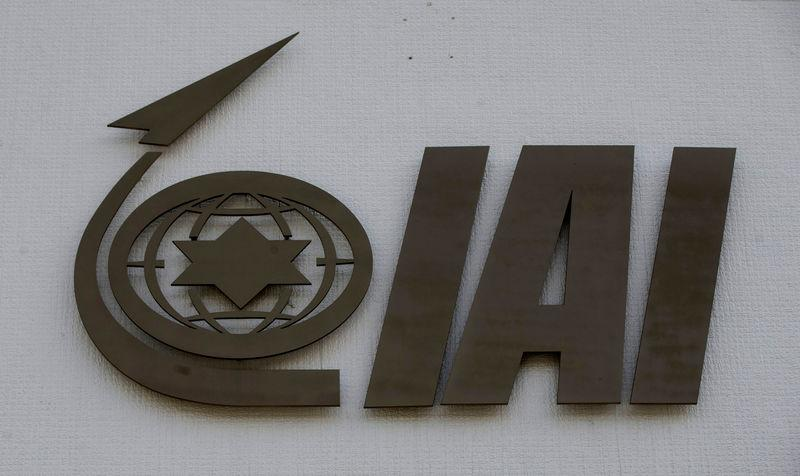 The logo of state-owned IAI, the country's biggest defence contractor, is seen at their offices next to Ben Gurion International airport, near Or Yehuda