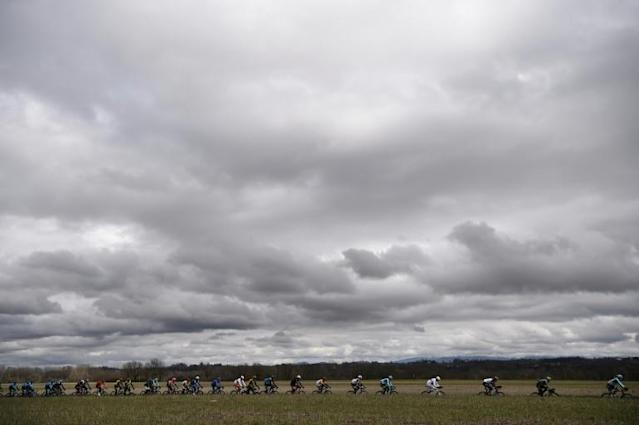 The pack rides during the 109th Milan - San Remo cycling race (AFP Photo/Marco BERTORELLO )