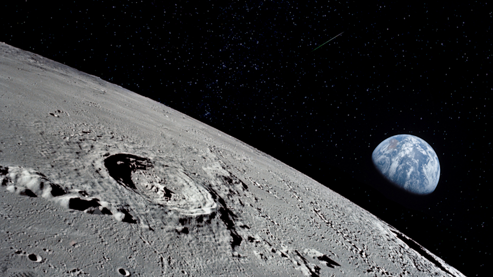 The view of earth from the surface of the moon.