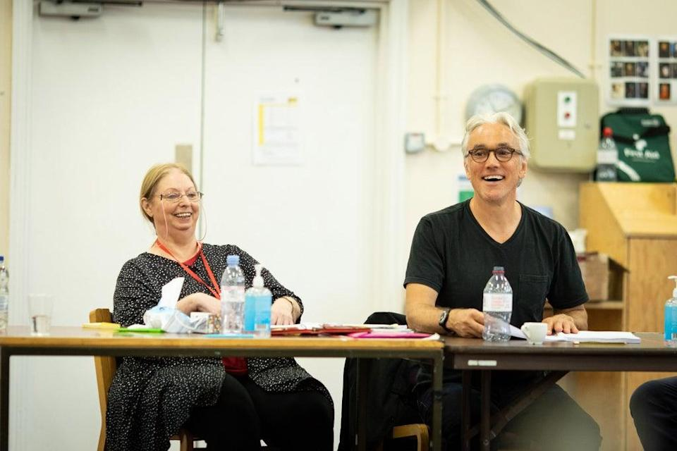 Hilary Mantel and Ben Miles in rehearsals for The Mirror and the Light (Helen Maybanks)