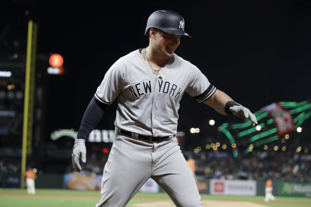 New York Yankees' Luke Voit celebrates after hitting a two run home run off San Francisco Giants' Mark Melancon in the ninth inning of a baseball game Friday, April 26, 2019, in San Francisco. (AP Photo/Ben Margot)