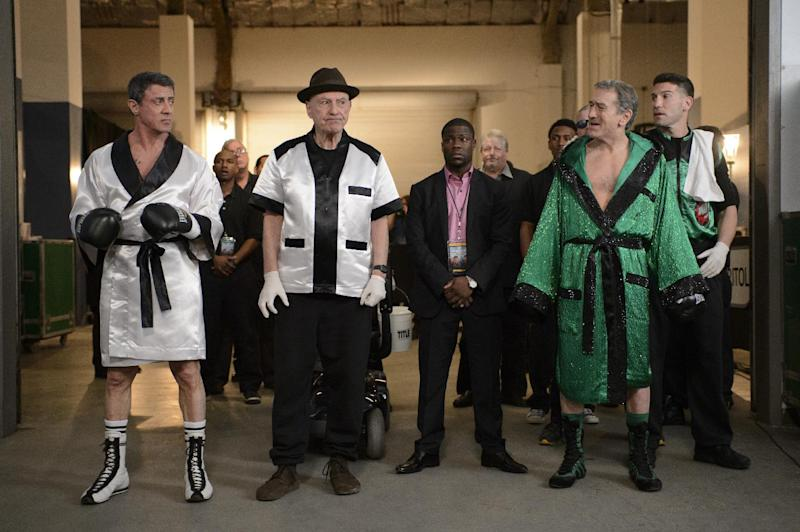 "This image released by Warner Bros. Pictures shows, from left, Sylvester Stallone as Henry ""Razor"" Sharp, Alan Arkin as Louis ""Lightning"" Conlon, Kevin Hart as Dante Slate, Jr., Robert De Niro as Billy 'The Kid' McDonnen and Jon Bernthal as B.J. in a scene from ""Grudge Match."" One was once the Raging Bull himself. The other is, of course, Rocky. Boxing has made for a lot of great story lines on the big screen, but the latest one matching 60-something actors Robert De Niro and Sylvester Stallone may be the biggest stretch ever. (AP Photo/Warner Bros. Pictures, Ben Rothstein)"