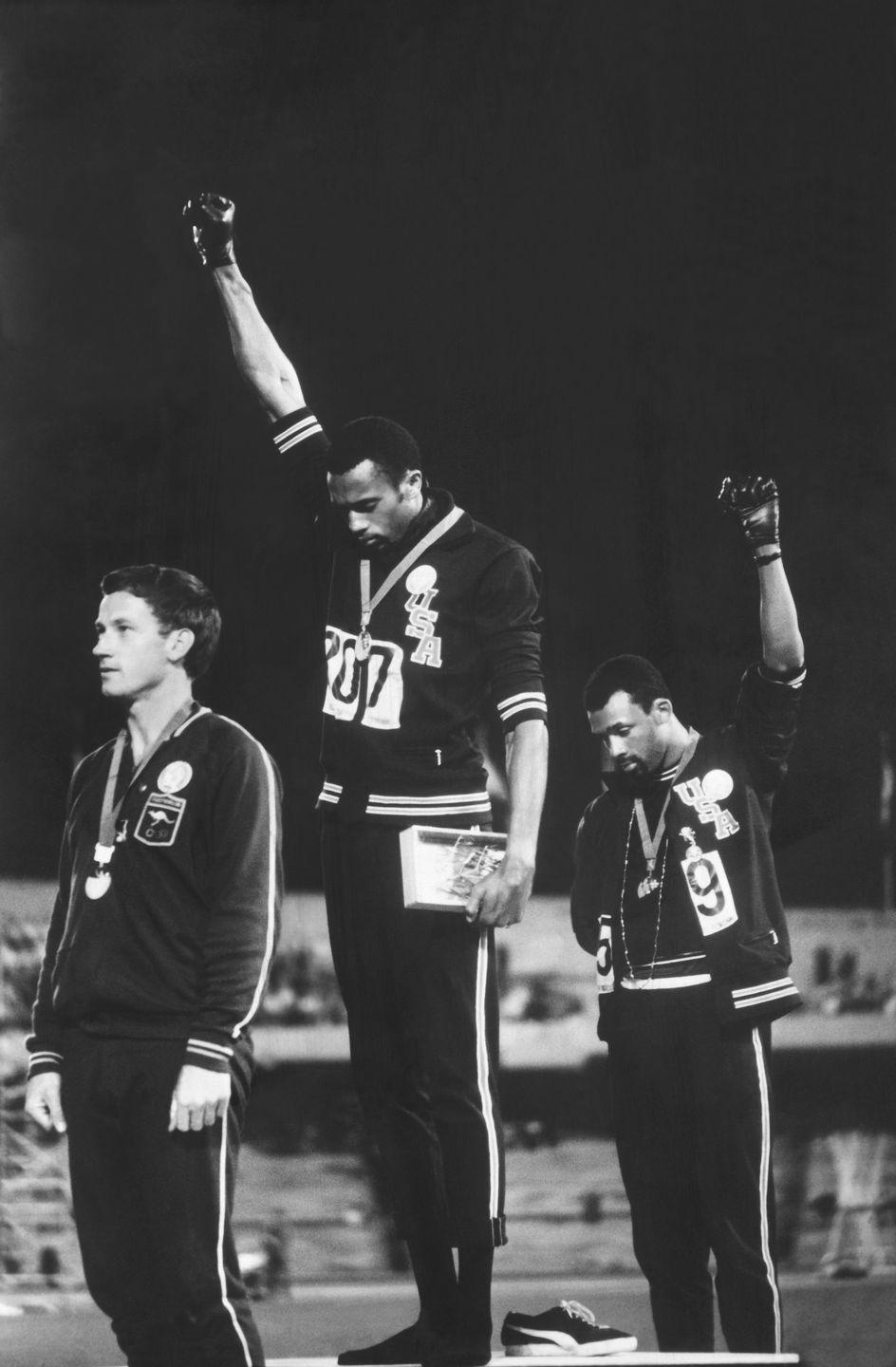 <p>When Tommie Smith and John Carlos took the podium to accept their gold and bronze medals, the African American athletes decided to make a statement about racism in their home country. Both Smith and Carlos wore necklaces to represent lynchings and gave the black power salute on the podium in a political protest that has remained an iconic moment in history. </p>