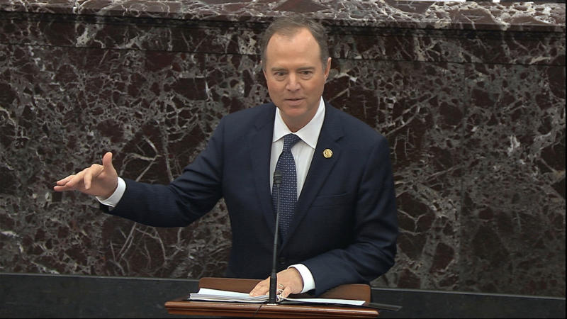 House impeachment manager Rep. Adam Schiff, D-Calif., speaks during the impeachment trial against President Donald Trump in the Senate on Wednesday, Jan. 22, 2020. (Senate Television via AP)