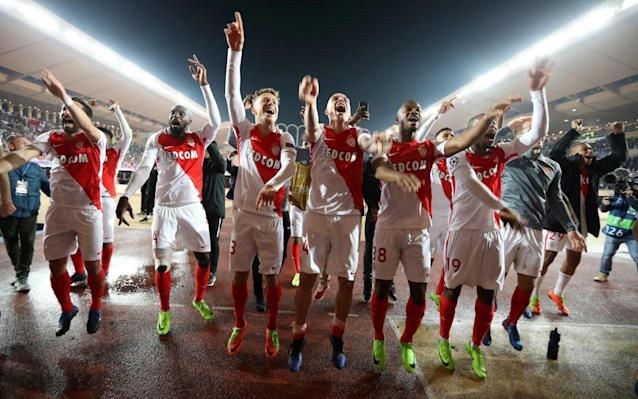 Monaco's players celebrate knocking Manchester City out of the Champions League - AFP