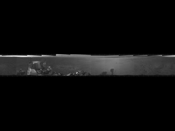 This is the first 360-degree panoramic view from NASA's Curiosity rover on Mars as seen by its mast navigation cameras. The fuzzy photos on the ends are lower-resolution. Scientists expect a high-res version of the image in upcoming days. Relea