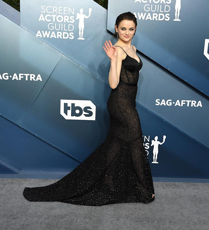 """<p>Joey's <a href=""""https://www.popsugar.com/fashion/joey-king-black-gown-at-sag-awards-2020-47123743"""" class=""""ga-track"""" data-ga-category=""""internal click"""" data-ga-label=""""https://www.popsugar.com/fashion/joey-king-black-gown-at-sag-awards-2020-47123743"""" data-ga-action=""""body text link"""">black Jason Wu dress</a> at the 2020 SAG Awards was basically the most elevated version of the naked dress I've ever seen. It was chic, sleek, and gorgeous.</p>"""