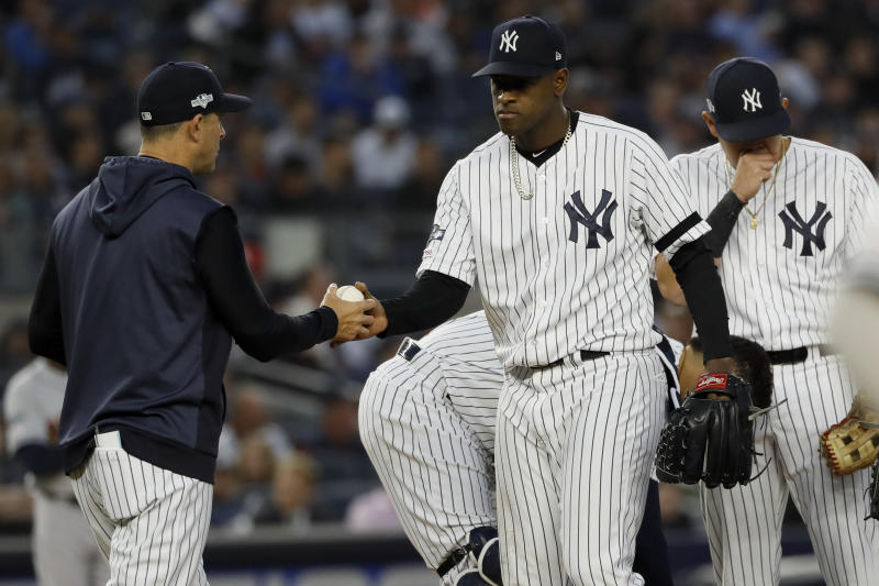 New York Yankees starting pitcher Luis Severino is taken out of the game by manager Aaron Boone during the fifth inning in Game 3 of baseball's American League Championship Series against the Houston Astros Tuesday, Oct. 15, 2019, in New York. (AP Photo/Matt Slocum)