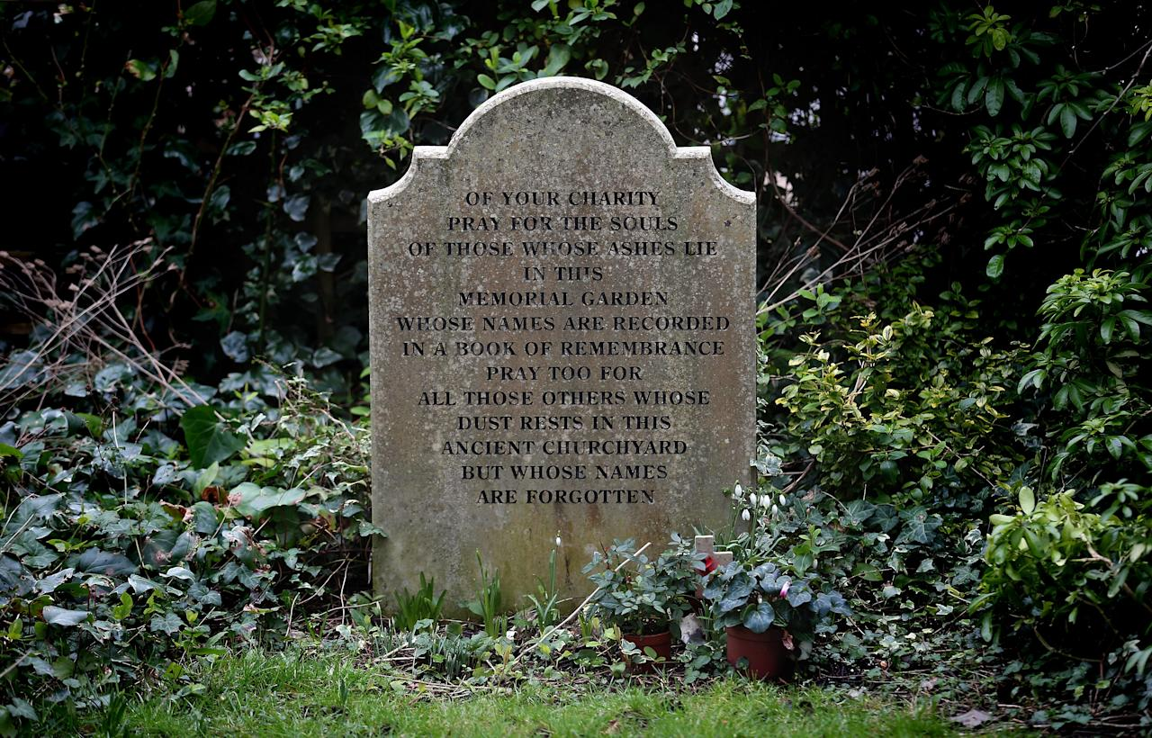 WINCHESTER, ENGLAND - FEBRUARY 06:  A general view of a headstone in St Bartholomew Church where Alfred The Great is believed to be buried on February 6, 2013 in Winchester, England. King Alfred lived from 849 AD to 899 AD and is the only English monarch to be afforded the title The Great. Following the recent discovery of Richard III's remains, archaeologists trying to locate Alfred the Great have applied to exhume bones from an unmarked grave at St Bartholomew Church.   (Photo by Matt Cardy/Getty Images)