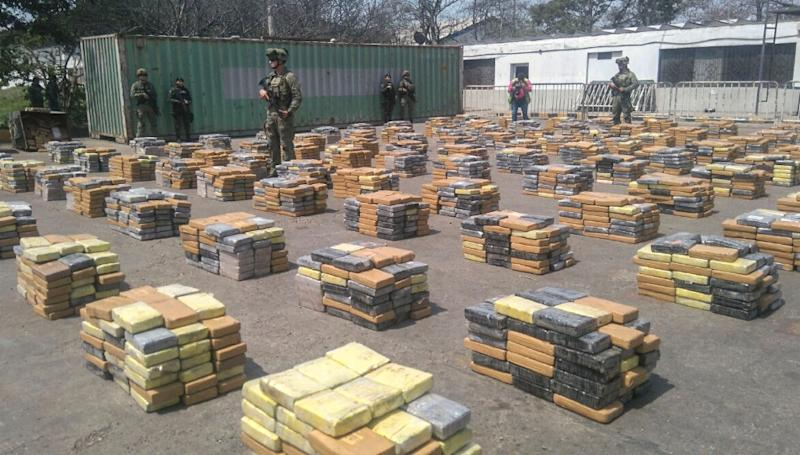 This handout picture released by the Colombian Antinarcotics Police shows 6,184  kilos of cocaine -which was heading to the port of Algeciras, Spain- seized in Barranquilla, on April 2, 2017